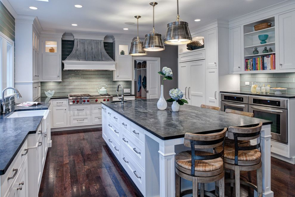 Different Types of Countertops for a Transitional Kitchen with a Inner Cabinet Lighting and Transitional Cottage Kitchen   Glenview, Il by Drury Design