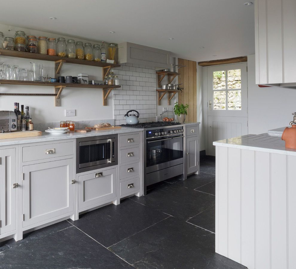 Discover Marble and Granite for a Farmhouse Kitchen with a Handmade Kitchen and Somerset Cottage by Inspired Design Ltd