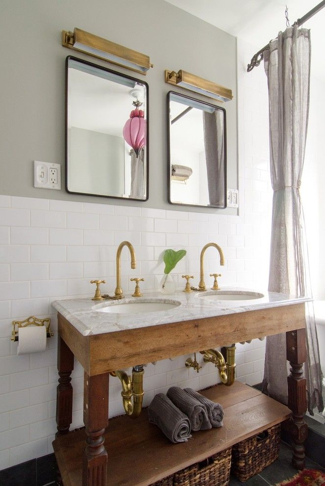 Discover Marble and Granite for a Shabby Chic Style Bathroom with a Gold Toilet Paper Holder and Prospect Heights Brownstone by Indigo & Ochre Design