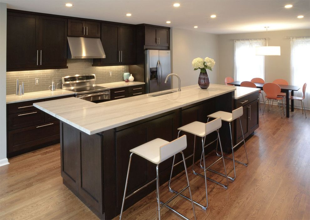Discover Marble and Granite for a Transitional Kitchen with a Dining Table and Farmsworth Residence by Drawing Dept
