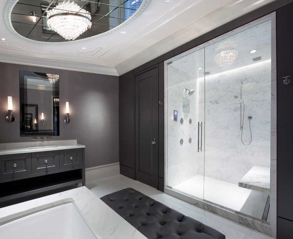Dishnet Customer Service for a Contemporary Bathroom with a Custom Cabinet and Master Bathroom by Dspace Studio Ltd, Aia