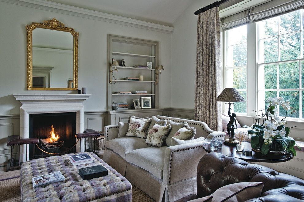 Distinctive Fabrics for a Farmhouse Living Room with a Floral Motif and Dorset Manor House by Sims Hilditch