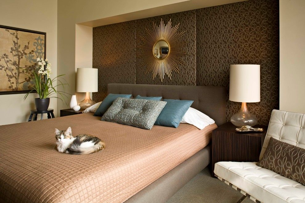 Distinctive Fabrics for a Midcentury Bedroom with a Natural Stone and the Antler House by Marilyn Deering Design