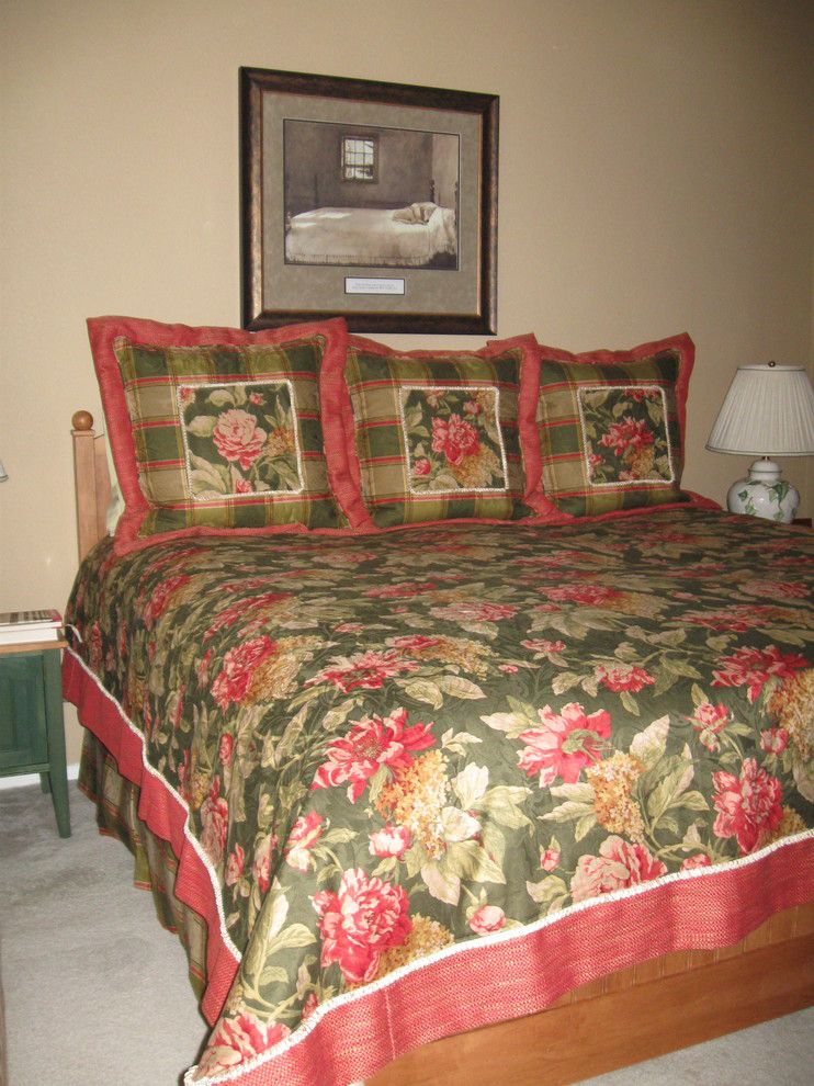 Distinctive Fabrics for a Traditional Bedroom with a Bed Coverlet and Townhouse Las Vegas by Designs of Distinction