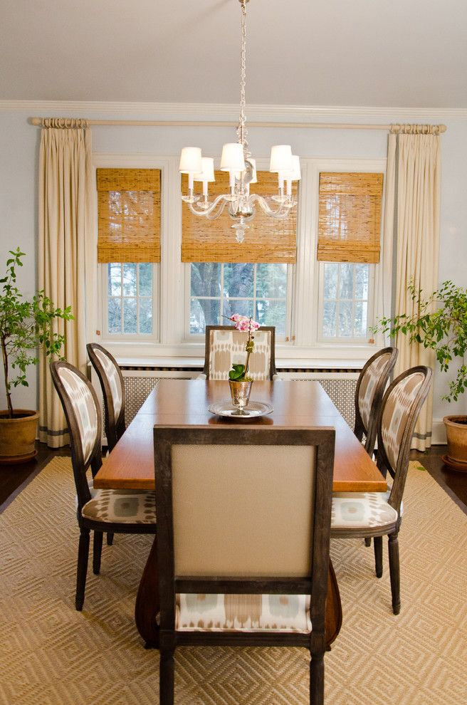 Distinctive Fabrics for a Traditional Dining Room with a Dining Chairs and Powell Residence Dining Room by Rajni Alex Design