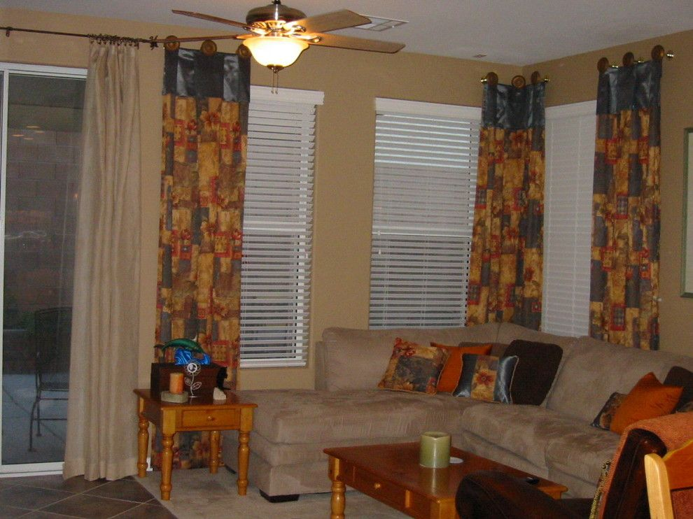 Distinctive Fabrics for a Traditional Family Room with a Top Banded Panels and Las Vegas by Designs of Distinction
