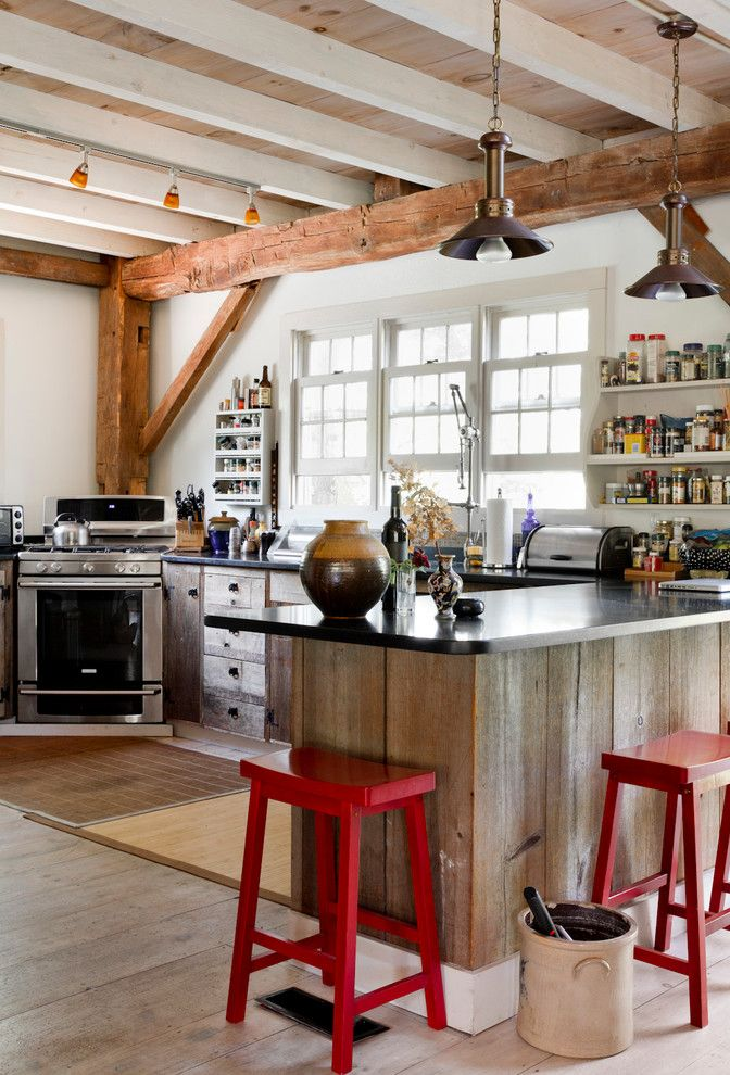 Distressing Wood for a Eclectic Kitchen with a Corner Stove and My Houzz: Ellie Sawits by Rikki Snyder