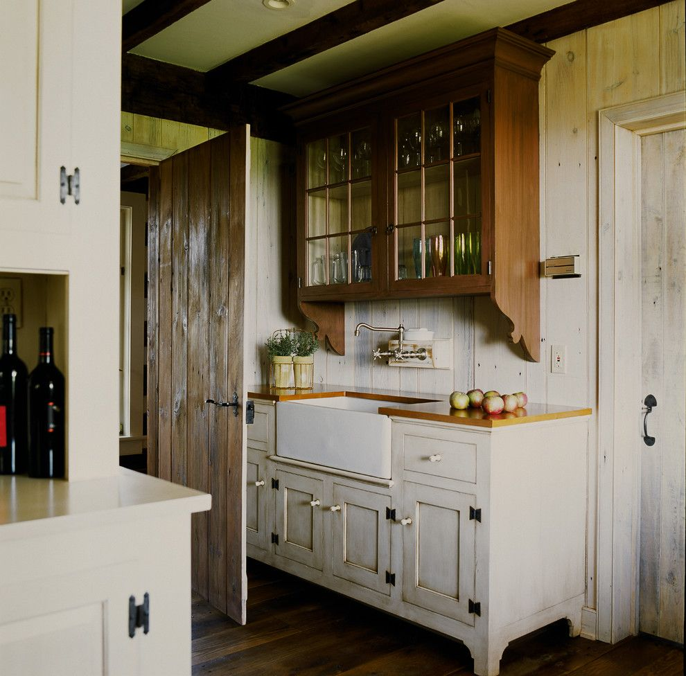 Distressing Wood for a Farmhouse Kitchen with a White Kitchen Cabinet and New House   Unionville, Pa by Peter Zimmerman Architects