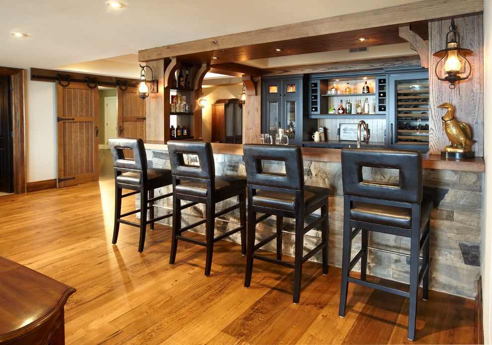 Distressing Wood for a Rustic Home Bar with a Wine Storage and the Cottage by Parkyn Design