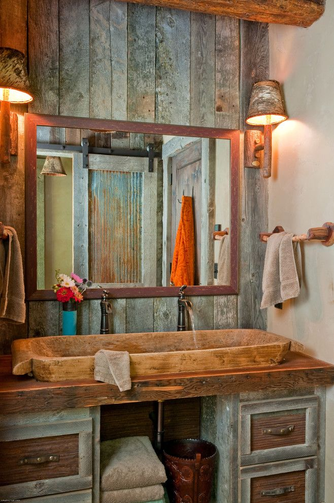 Distressing Wood for a Traditional Bathroom with a Trough Sink and Headwaters Camp by Carole Sisson Designs