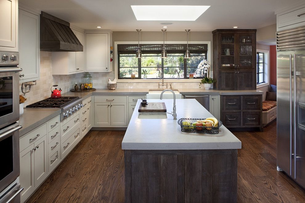 Distressing Wood for a Traditional Kitchen with a Window Treatment and Portola Valley Residence by Artistic Designs for Living, Tineke Triggs