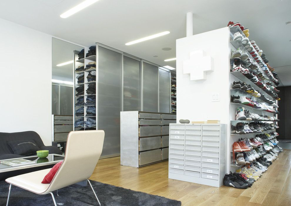 Diy Shoe Rack for a Contemporary Closet with a Recessed Lighting and Kenig Residence Storage by Slade Architecture