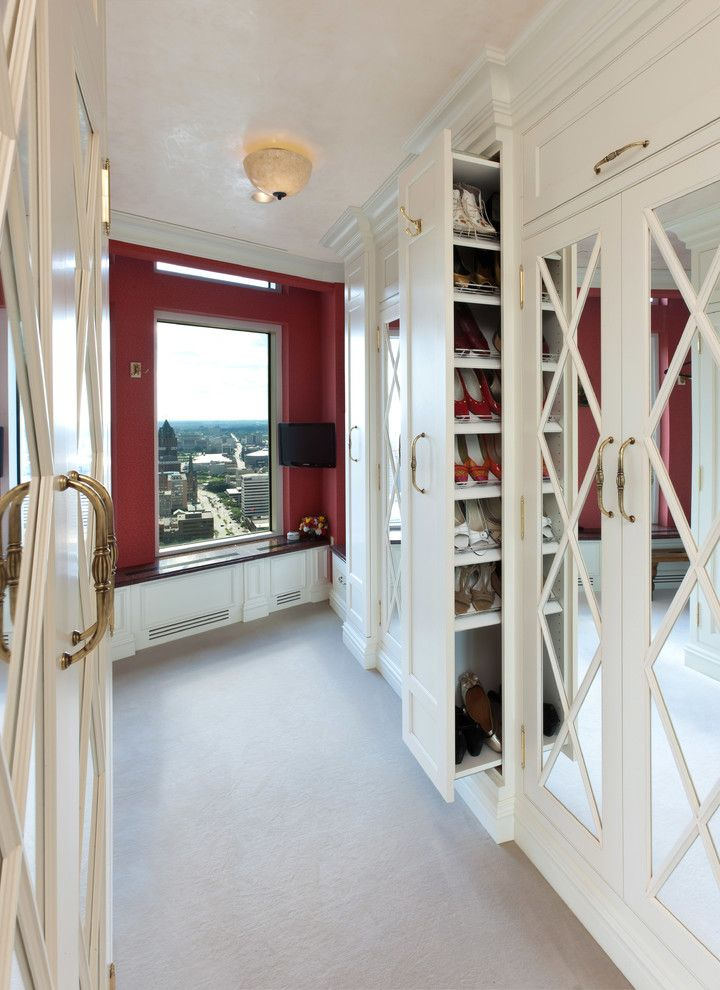 Diy Shoe Rack for a Mediterranean Closet with a Window Seat and Milwaukee Renaissance  Condo by Collaborative Design
