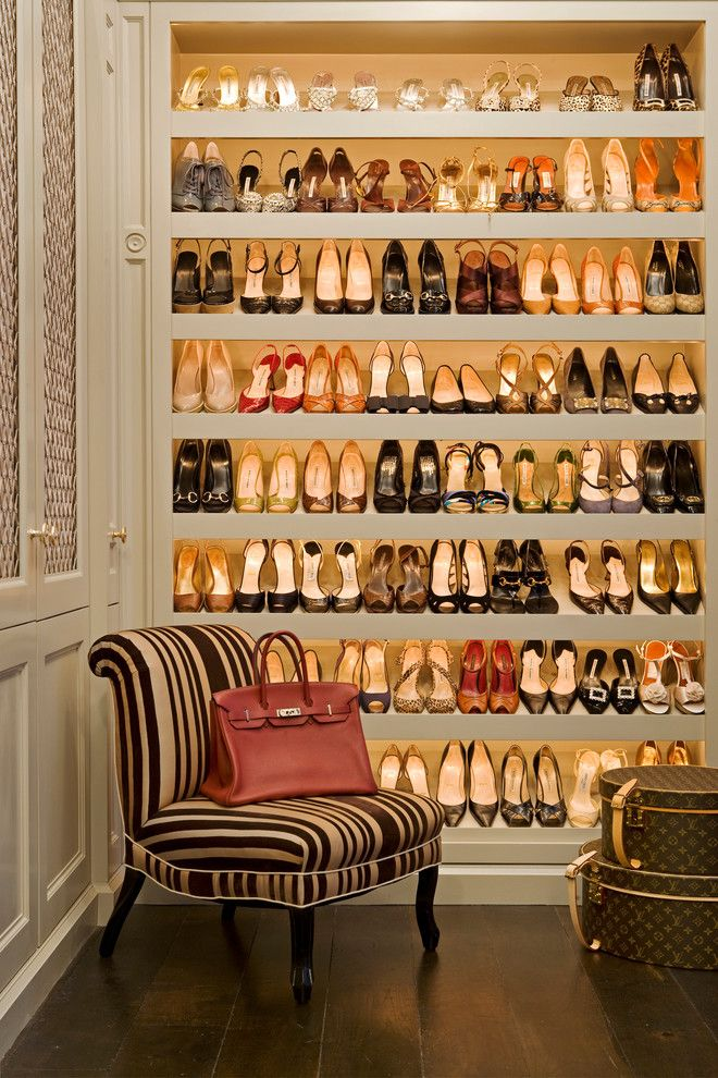 Diy Shoe Rack for a Traditional Closet with a Medallion and Inherited Ease by Tim Clarke Design