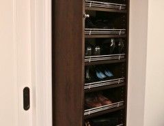 Diy Shoe Rack for a Traditional Closet with a Shoe Storage and Dark Wood Master Walk in Suite by Marie Newton, Closets Redefined
