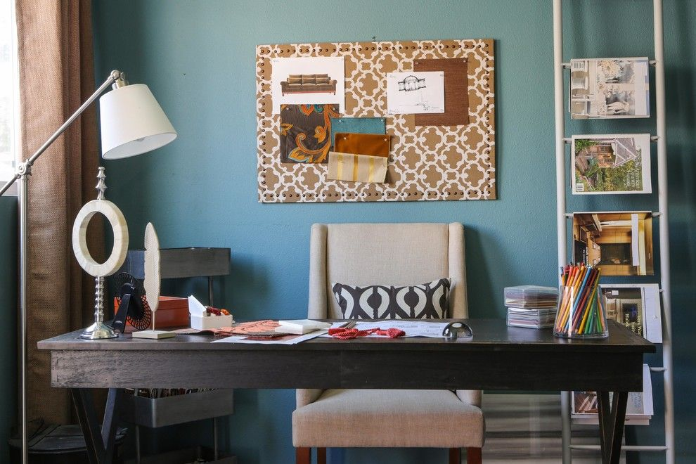 Diy Whiteboard for a Contemporary Home Office with a Floor Lamp and Home Office by Sanctuary Interiors