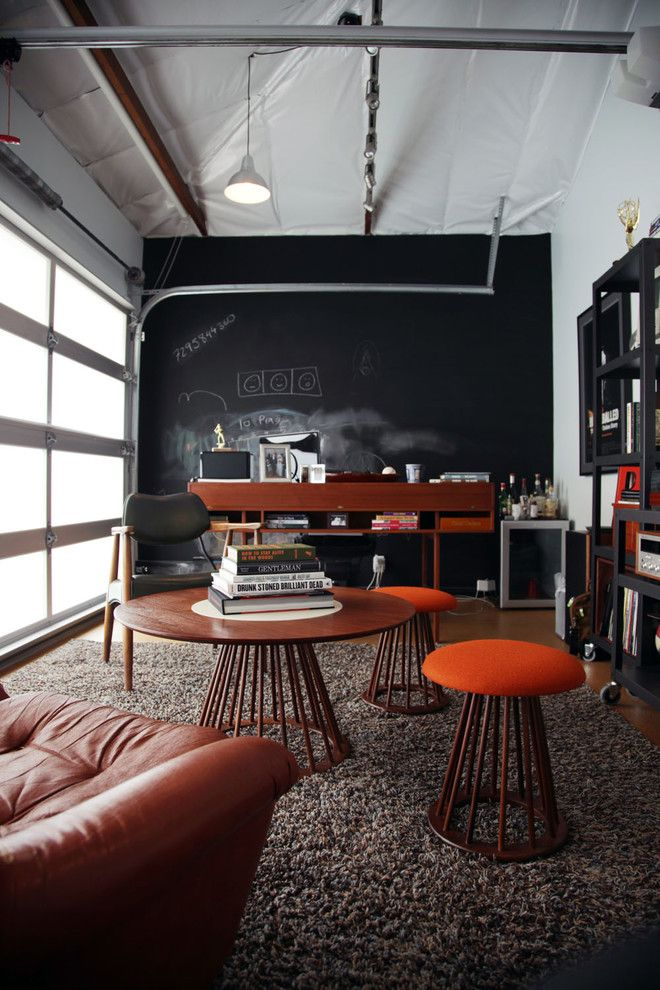Diy Whiteboard for a Industrial Home Office with a Exposed Pipes and Mid Century   Silverlake, Ca by Amy Sklar Design Inc