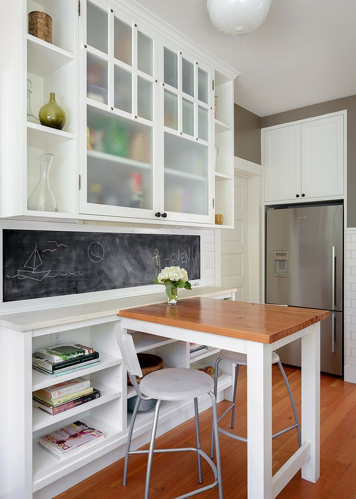 Diy Whiteboard for a Transitional Kitchen with a Wood Counter and Central District Kitchen Remodel by Make Design Studio