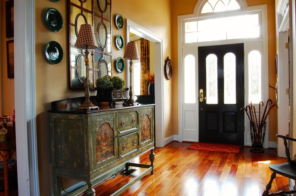 Doerr Furniture for a Shabby Chic Style Entry with a Mirror and My Houzz: French Country Meets Southern Farmhouse Style in Georgia by Corynne Pless