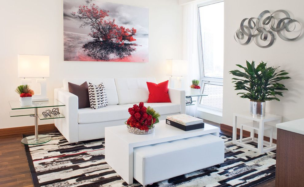 Domicile Furniture for a Contemporary Living Room with a White Leather Sifa and Setai by Fava Design Group
