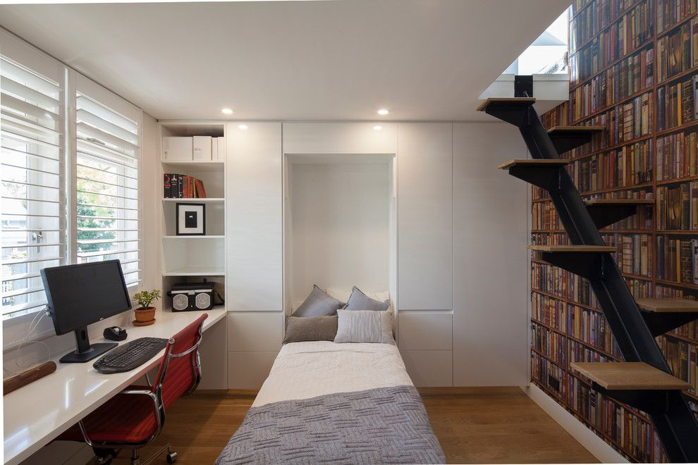 Domicile Furniture for a Modern Home Office with a Fold Down Bed and Balmain Residence by Bayview Design Group Australia