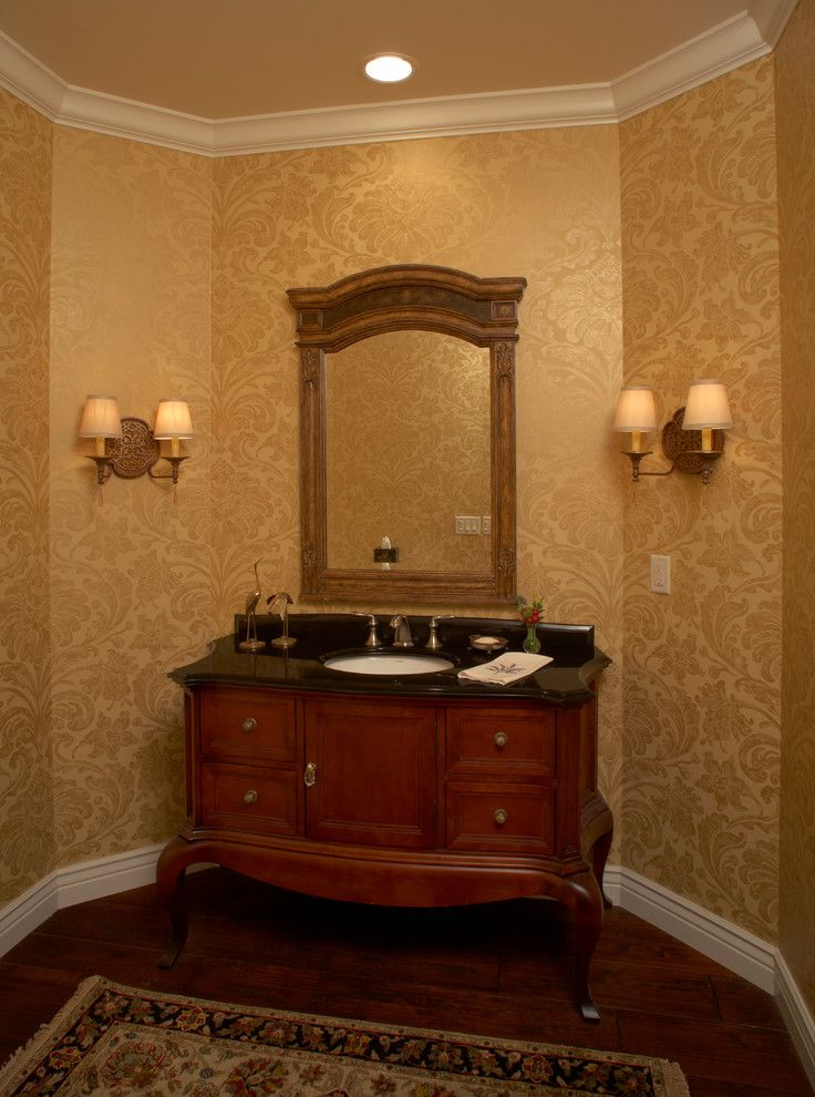 Domicile Furniture for a  Powder Room with a Indoor Wall Sconce and Kitchen Made for Entertaining by Bella Domicile