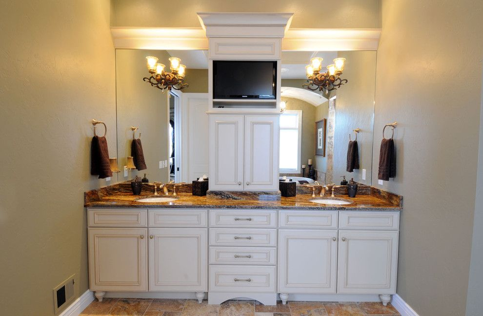 Domicile Furniture for a Traditional Bathroom with a Gold and Graceful Master Bath by Bella Domicile