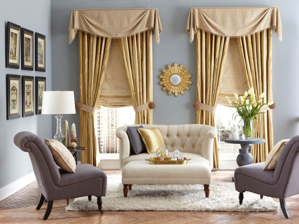 Domicile Furniture for a Traditional Living Room with a Roman Shade and Premium Window Coverings by Budget Blinds