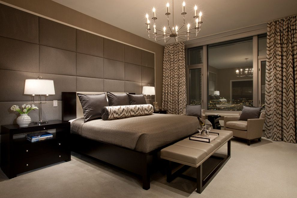 Donghia for a Contemporary Bedroom with a Tall Ceilings and Delaware Place by Michael Abrams Limited