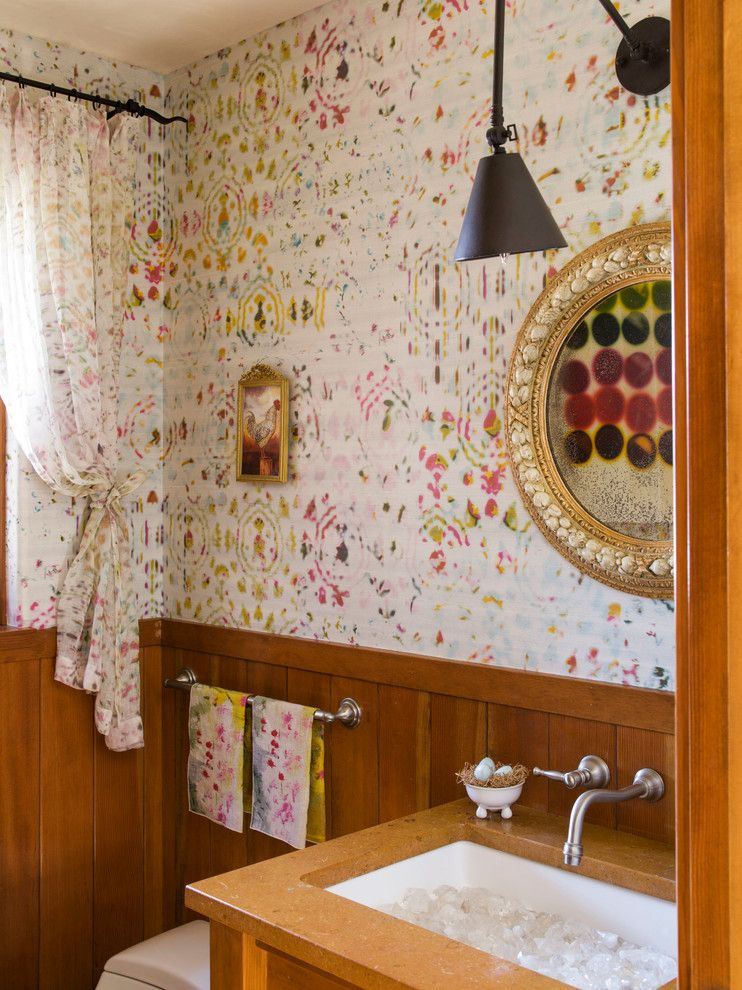 Donghia for a Shabby Chic Style Powder Room with a Wall Mounted Faucet and Napa Valley Showhouse by Kathy Best Design