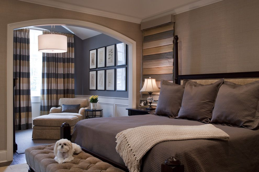 Donghia for a Traditional Bedroom with a Gallery Wall and Seeley Master Bedroom by Michael Abrams Limited