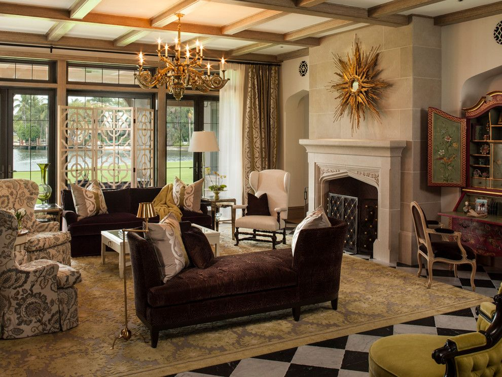 "Donghia for a Victorian Living Room with a Coffered Ceiling and ""INHERITABLE"" FAMILY HOME by Taylor & Taylor, Inc."