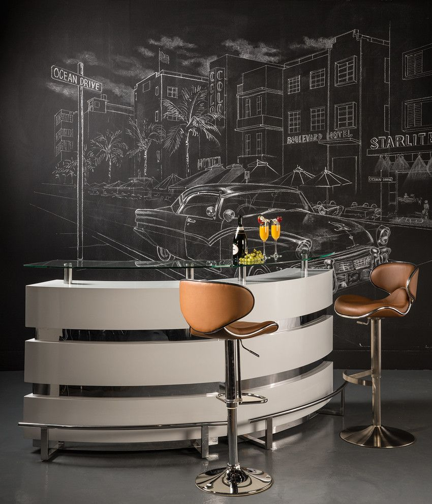 Dorado Furniture for a Modern Home Bar with a Stool and Xenia Bar by El Dorado Furniture
