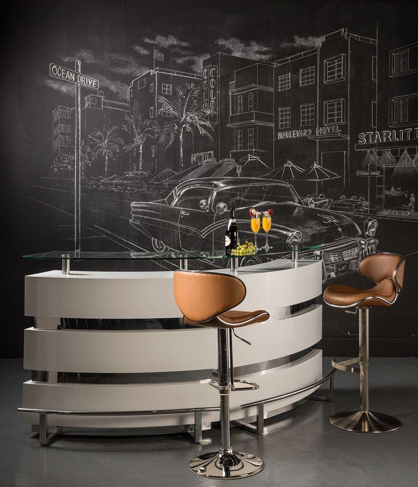 Dorado Furniture for a Modern Home Bar with a Stool and Xenia Bar by El Dorado Furniture