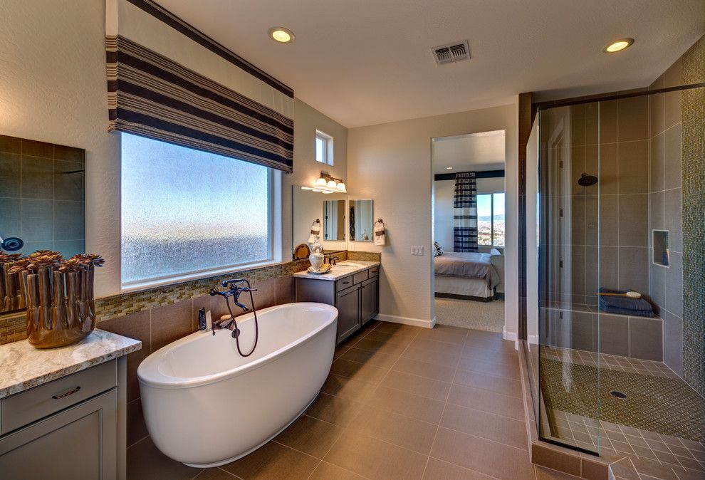 Dorn Homes for a Contemporary Bathroom with a Freestanding Bath and Pinnacle Views at Prescott Lakes by Dorn Homes