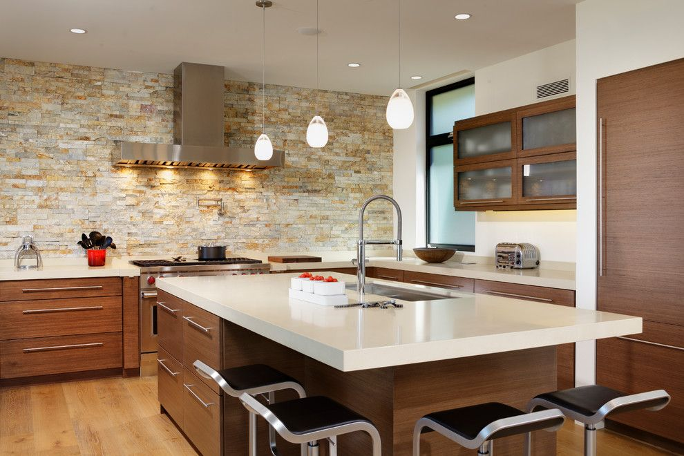 Dornbracht for a Contemporary Kitchen with a Sink in Island and Corona Del Mar Beach Bungalow by by Design