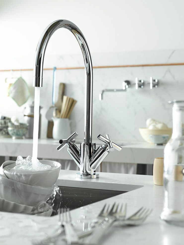 Dornbracht for a Traditional Kitchen with a Cross Handles and Dornbracht Tara Kitchen Faucet by Dornbracht