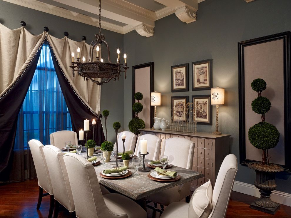 Dovetail Furniture for a Traditional Dining Room with a Wall Panels and Lake Mary Rustic Style Residence by Roman Interior Design