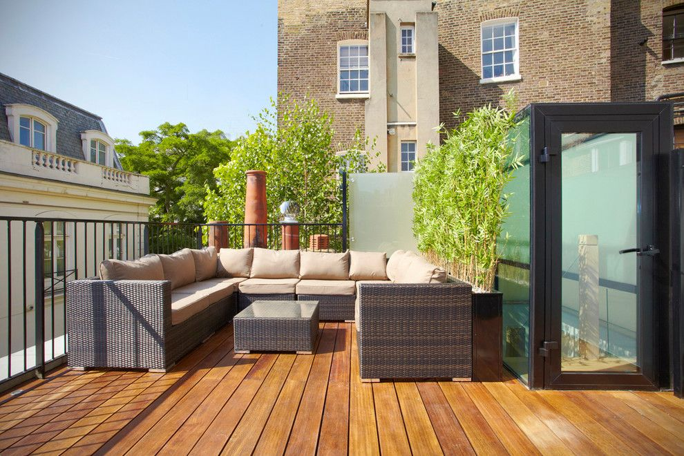 Dox Furniture for a Contemporary Deck with a Bamboo and Belgrave Mews North by Landmass London