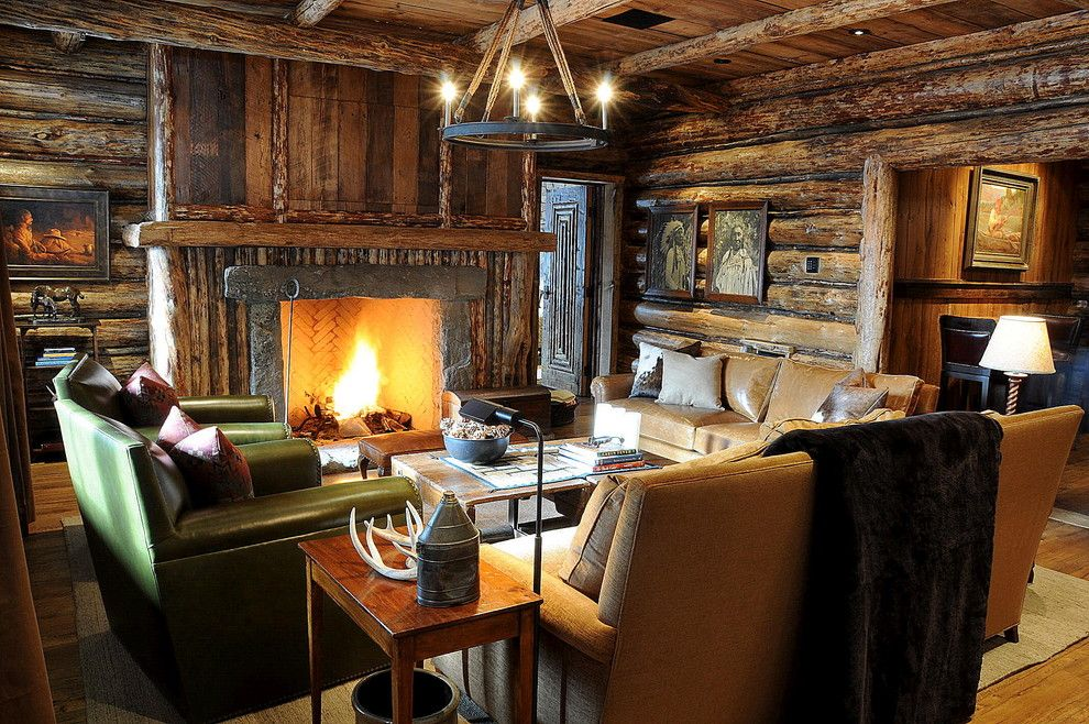 Dox Furniture for a Rustic Family Room with a Wood Paneling and Family Room by Peace Design