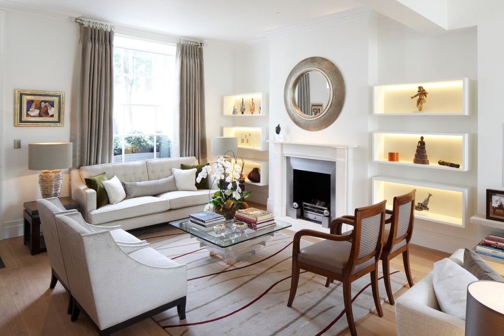 Dox Furniture for a Transitional Living Room with a Beige Living Room and Chelsea Townhouse by Juliette Byrne