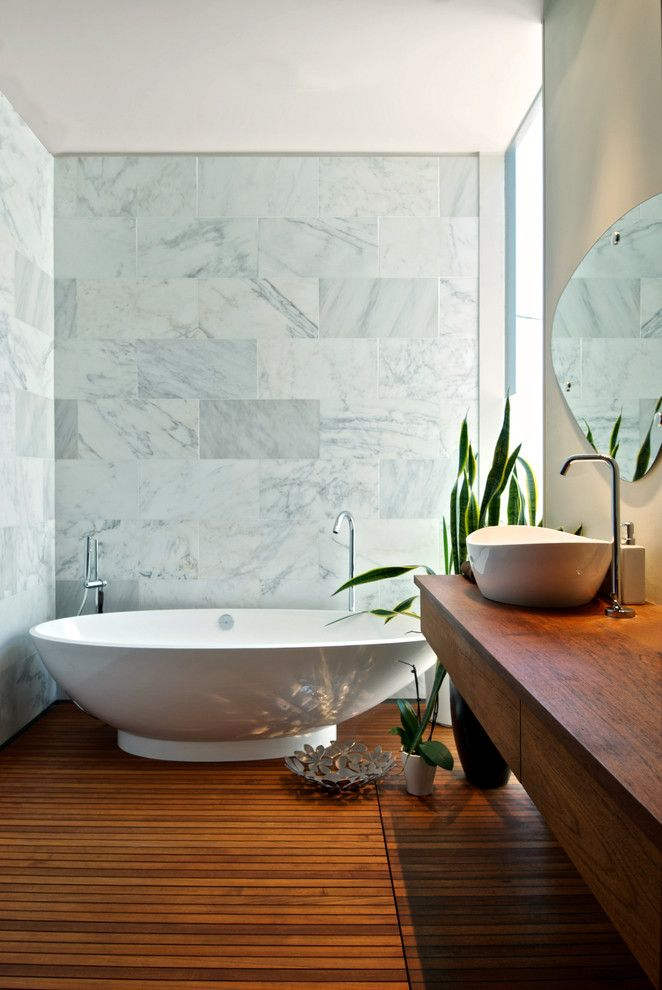 Drainage Ditch for a Contemporary Bathroom with a Curbless Shower and Teak Bathroom by Andrew Snow Photography