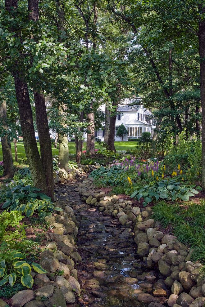 Drainage Ditch for a Traditional Landscape with a Purple Flowers and Lake Geneva, WI Residence (A) by Van Zelst Inc
