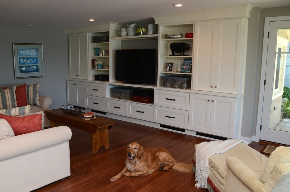 Drexel Building Supply for a Transitional Family Room with a Drexel and Why White? Entertainment Center Cabinetry by Drexel Building Supply
