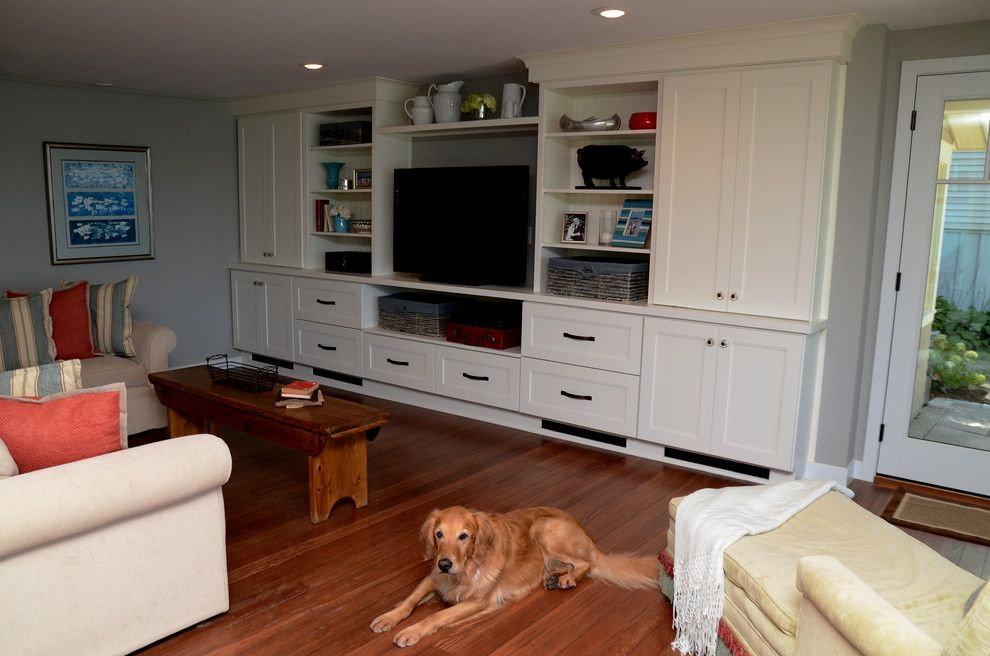Drexel Building Supply for a Transitional Family Room with a Dura Supreme and Why White? Entertainment Center Cabinetry by Drexel Building Supply