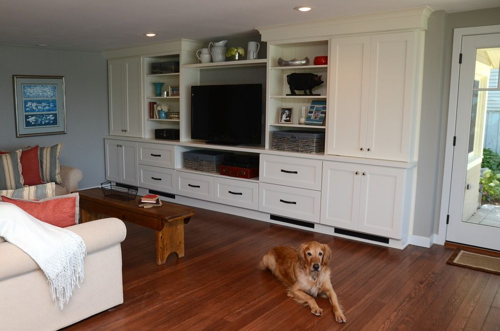 Drexel Building Supply for a Transitional Family Room with a White and Why White? Entertainment Center Cabinetry by Drexel Building Supply