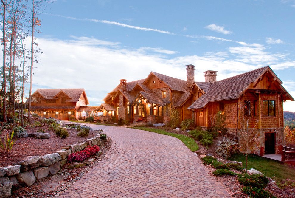 Driveway Apron for a Rustic Exterior with a Brick Driveway and Whiteside Lodge by Mosscreek