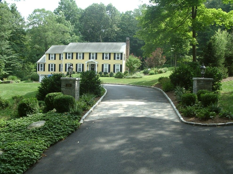 Driveway Apron for a Traditional Landscape with a Fairfield and Stone Piers and Stone Driveway Apron by Joan Rothenbucher Landscape Design