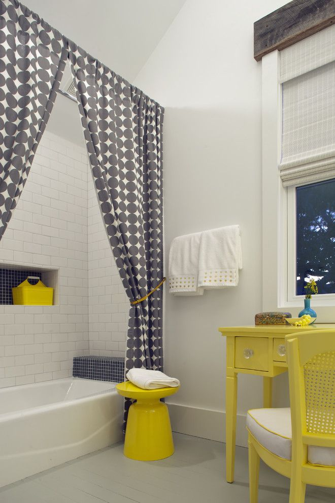Drop Cloth Curtains for a Beach Style Bathroom with a Vanity and Sleeping Loft   Kid's Hangout Spot by Rethink Design Studio