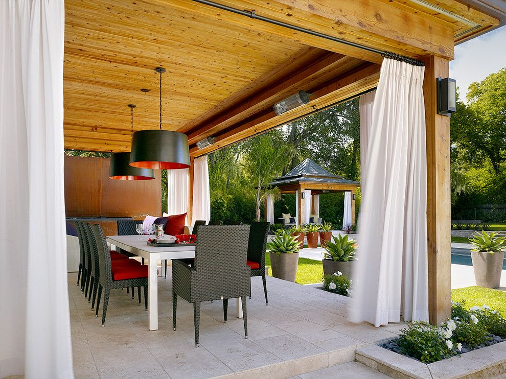 Drop Cloth Curtains for a Contemporary Patio with a White Flowers and Contemporary Patio by rlaxerinteriors.com